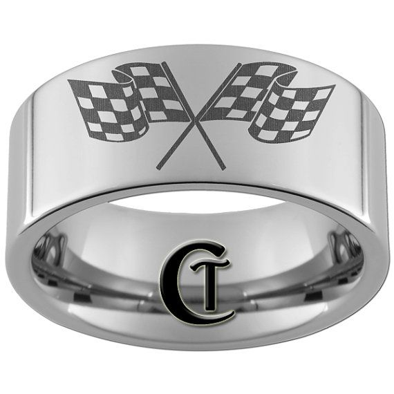 NASCAR Wedding Band Men Checkered Flags Dirt Track