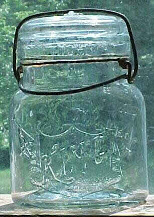 c1920s KING Smalley Pint Size Canning Fruit Jar Boston, Mass