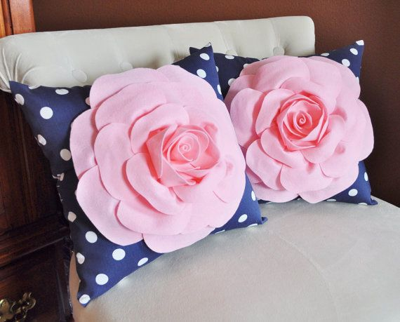 SET OF TWO Decorative Rose Pillows -Light Pink Roses On