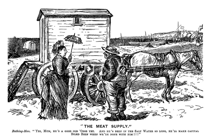 """""""The Meat Supply."""" Bathing-Man. """"Yes, Mum, He's A Good Old"""