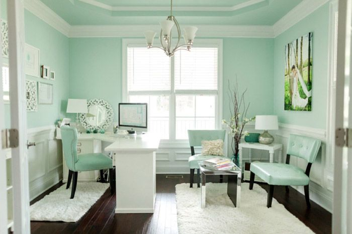 chic mint teal office shabby chic feminine office space on paint colors for professional office id=74277