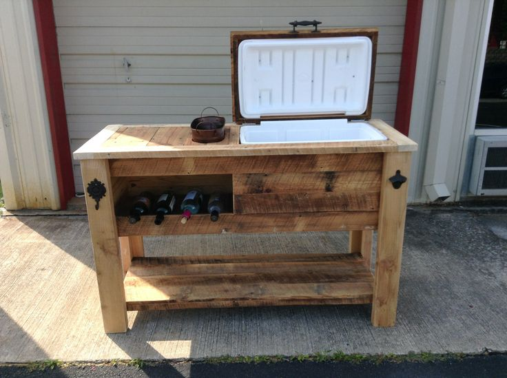 Barn Wood Cooler Table With Wine Chill Bucket And Notched