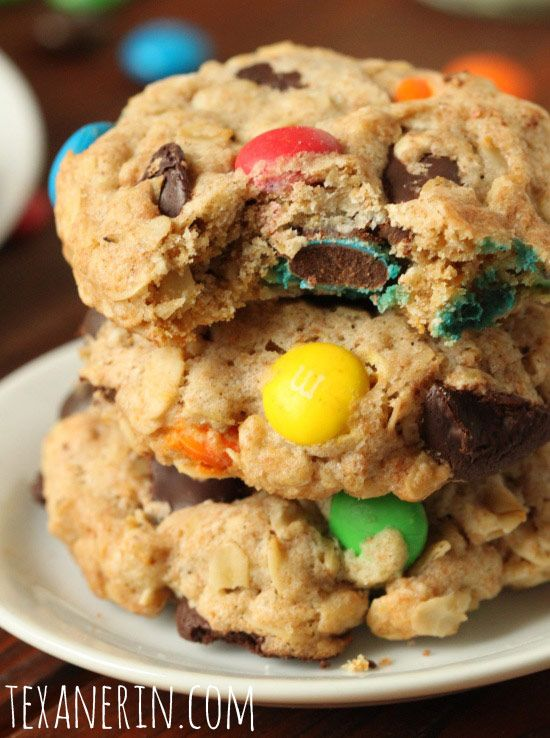 These whole grain M&M cookies are made healthier with coconut sugar, coconut sugar and whole wheat flour!