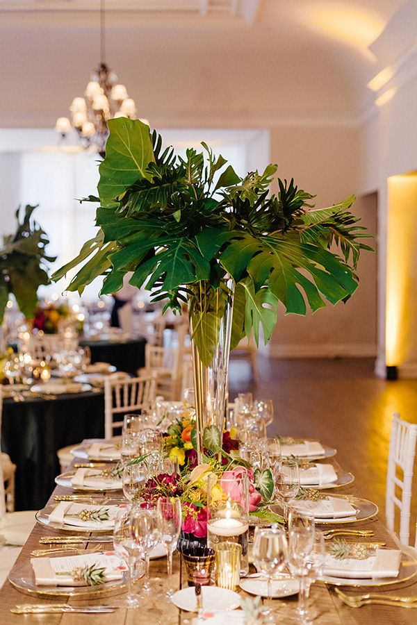 Tropical Chic Miami Wedding By Elaine Palladino Centerpieces And Palm