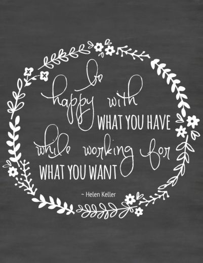 """Free Printable Wall Art ~ Inspirational Quote  """"Be happy with what you have, while working for what you want."""" ~Helen Keller"""