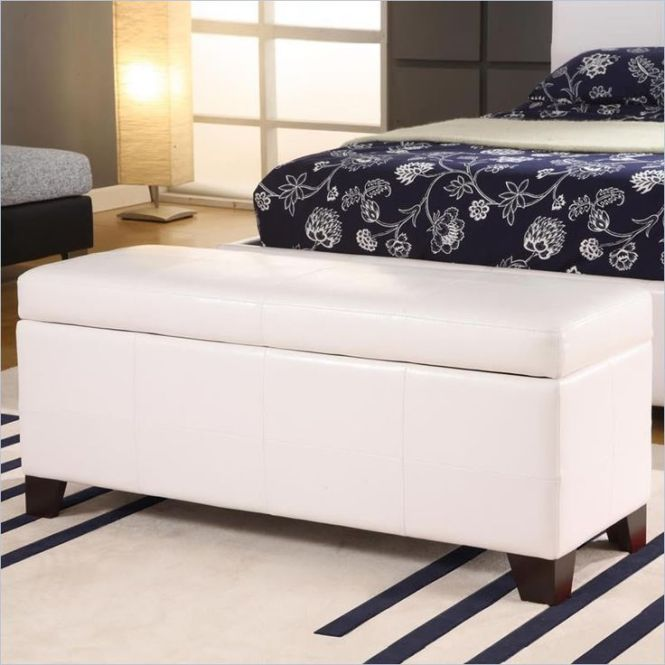 Modern Bedroom Design With Black Fl Bed Set And White Ottoman Bench Wooden Legs