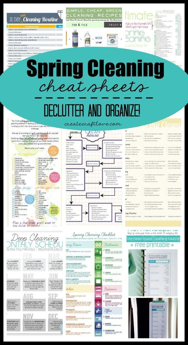 Spring Cleaning Cheat Sheets – everything you need to declutter and organize this spring! Organize and clean your whole house.