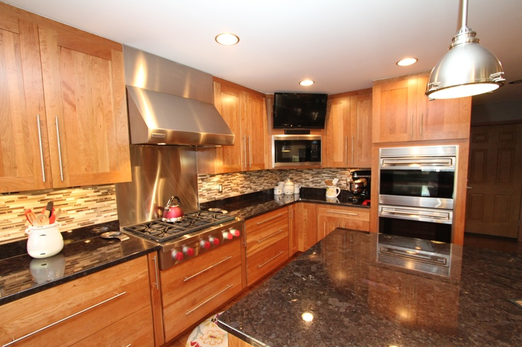 Natural cherry cabinets with granite countertops & an ... on Natural Maple Cabinets With Black Granite Countertops  id=27565