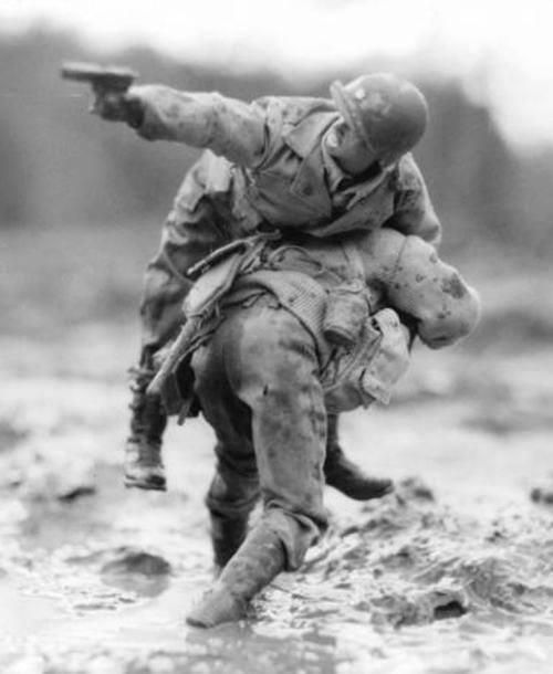 Great shot of WWII action, the bravery of American soldiers and the love of thei