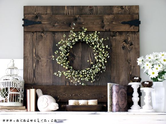 Spring Mantel… love the bird cage and barn door!! @June Kuiper Kuiper Kuiper Kuiper Kuiper Kuiper Matthews