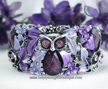 vintage fashion purple amethyst owl bangle bracelet