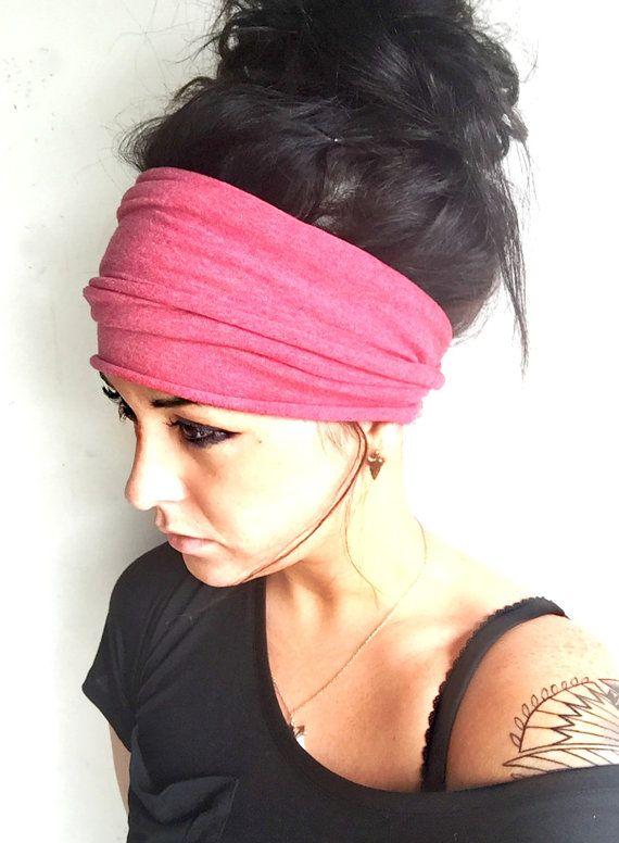 Coral Scrunch Headband Extra Wide Headband Jersey