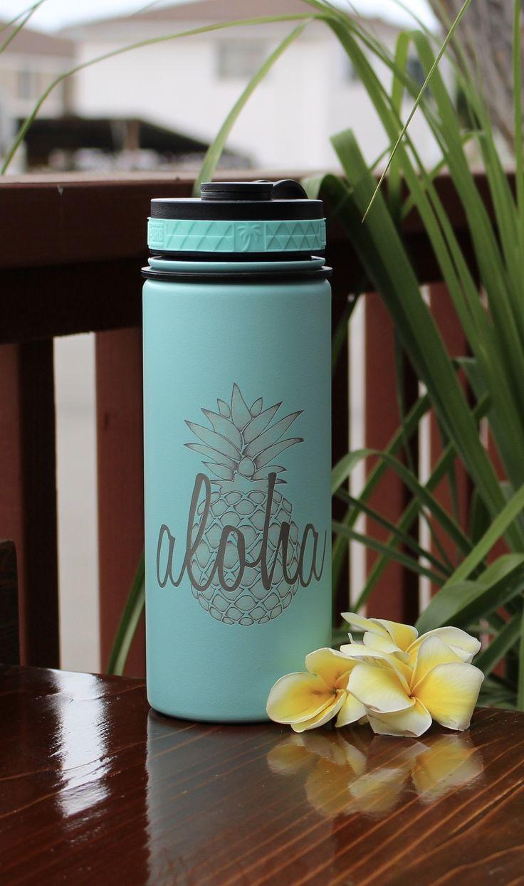 808 HI DR8 Flask 18oz Aloha Pineapple Engraving Flask
