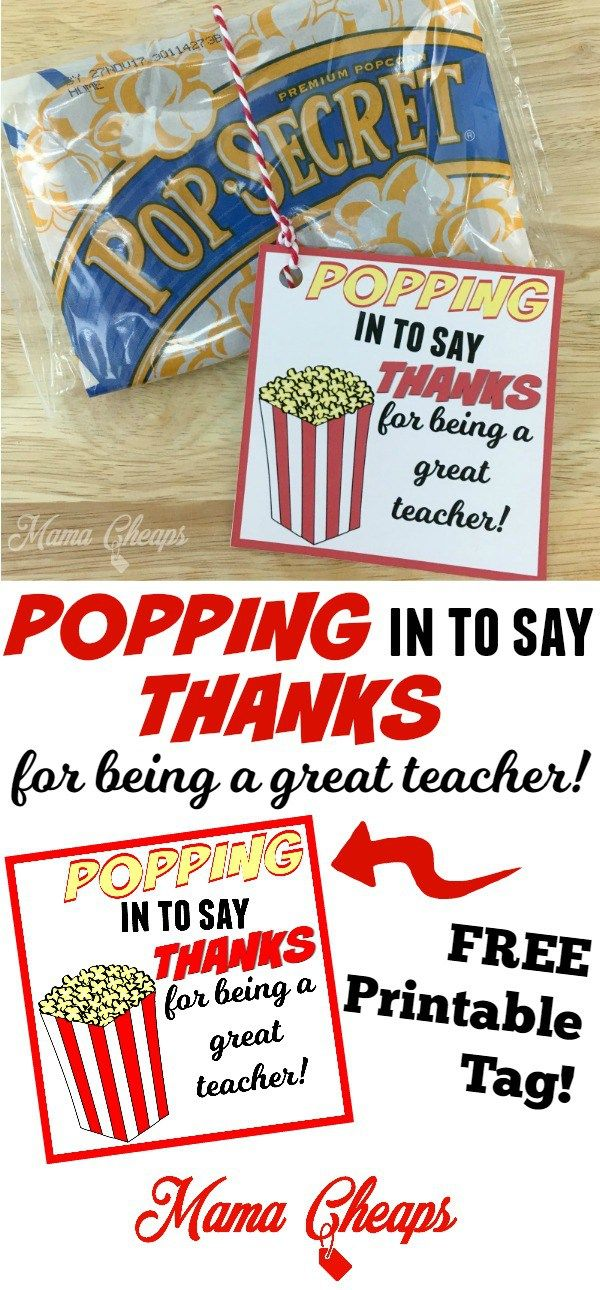 POPPING In To Say THANKS Popcorn Themed Teacher Gift