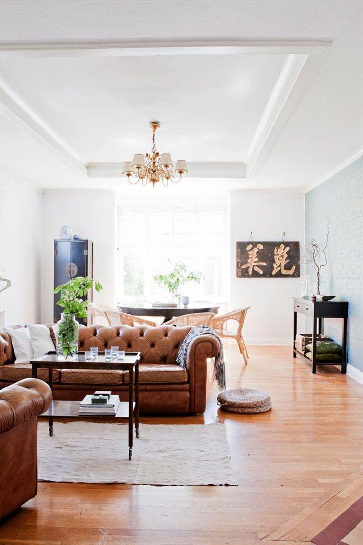 Living Roomdining Room In Scandinavia Cognac Couchchair