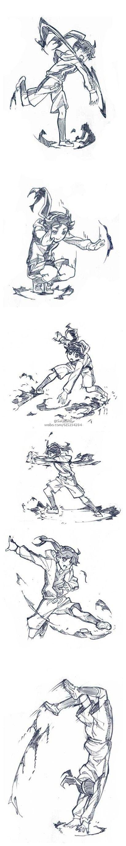 Poses Staff Fighting Anime