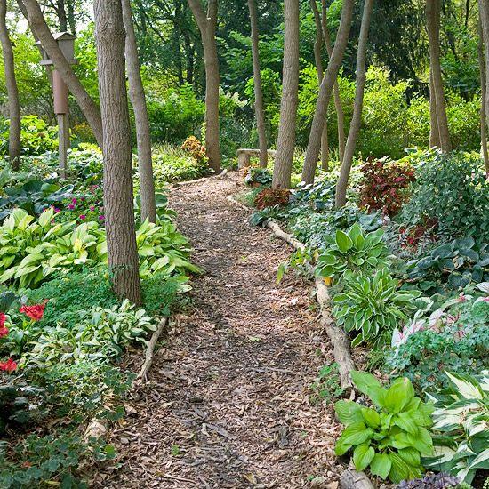 shade garden path ideas Shade Garden Ideas | Gardens, Backyards and Rustic wood bench