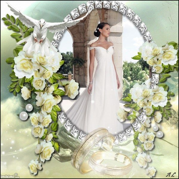 Wedding Photo Frame White Soft Yellow Bling For The