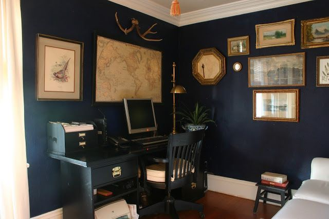 dark blue office walls black furniture maps and an old on blue office color id=91565