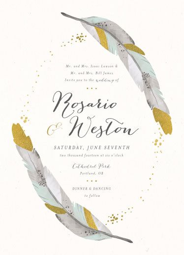 Dipped Feathers wedding invitation by Pistols
