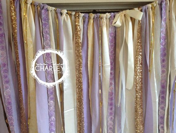 Lavender And Gold Sparkle Sequin Fabric Backdrop Garland Shabby Satin Rose Wedding Baby