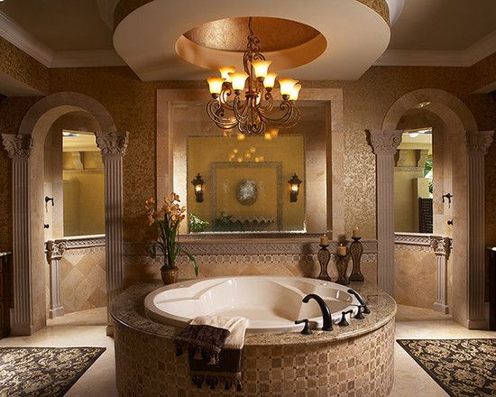 Walk Through Shower, Tub And Great Ceiling
