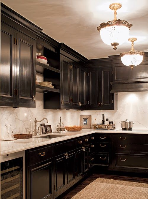 black kitchen cabinetry with gold hardware white marble countertops and backsplash on kitchen cabinets gold hardware id=64841