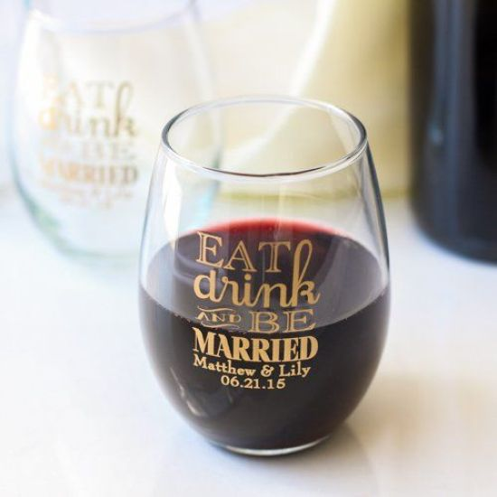 Send your guests home with a personalized 9 oz. stemless wineglass!