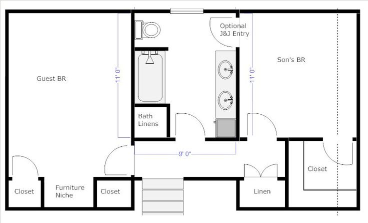 Bathroom Floor Plans With Dimensions Re Jack And Jill