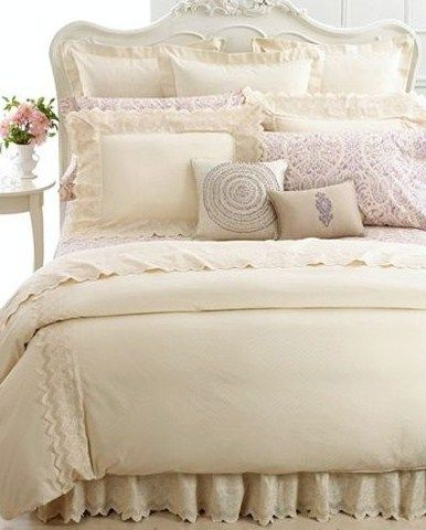 Cream And Lavender Bedding With Lace Detailing Cream