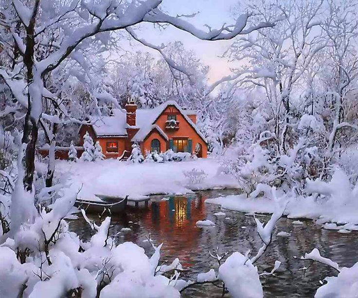 Log Cabin Winter Scenes Pin It Like Image Warm And