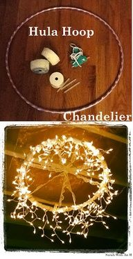 Hula Hoop Chandelier…. Hula Hoop and Lace from the Dollar Store, only 4 dollars to make!