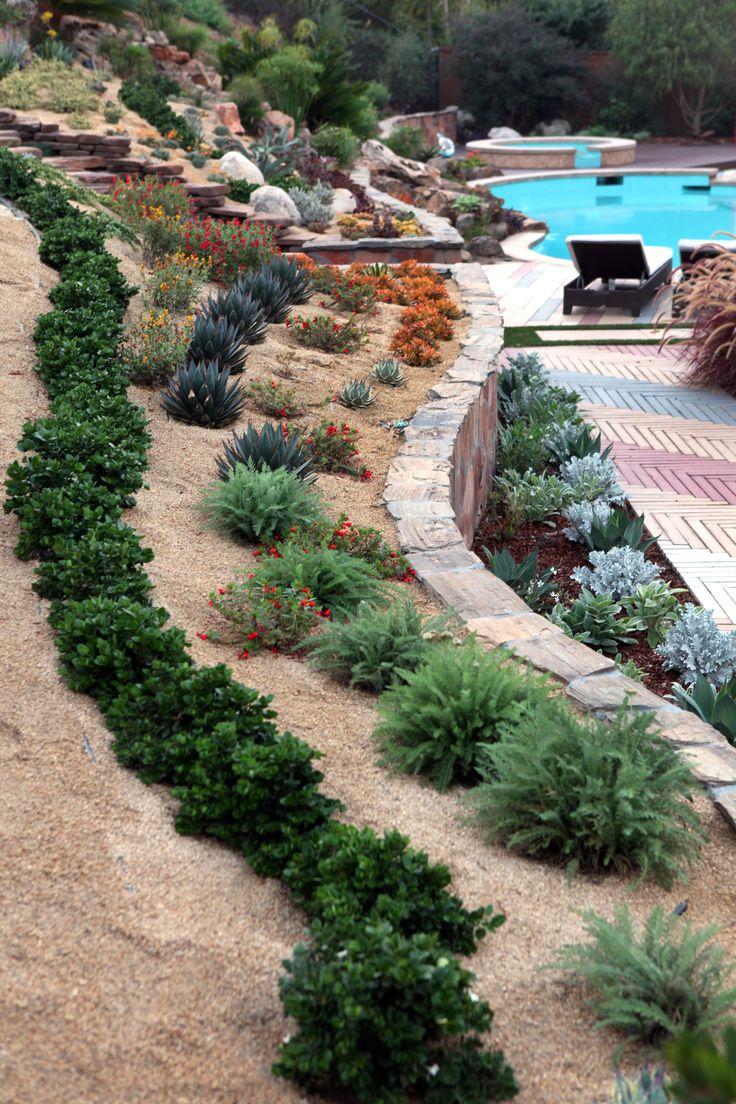 Back yard landscaping design idea with steep slope ... on Sloped Backyard Design id=79762