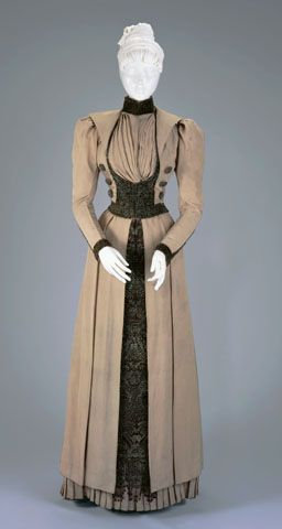 I love this. I really wish the source link worked so that I could find out more about it and what collection it is in. | WALKING SUIT: BODICE AND SKIRT  Circa 1890: