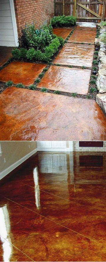 How to stain concrete yourself… love these stones outside! Definitely need to remember this
