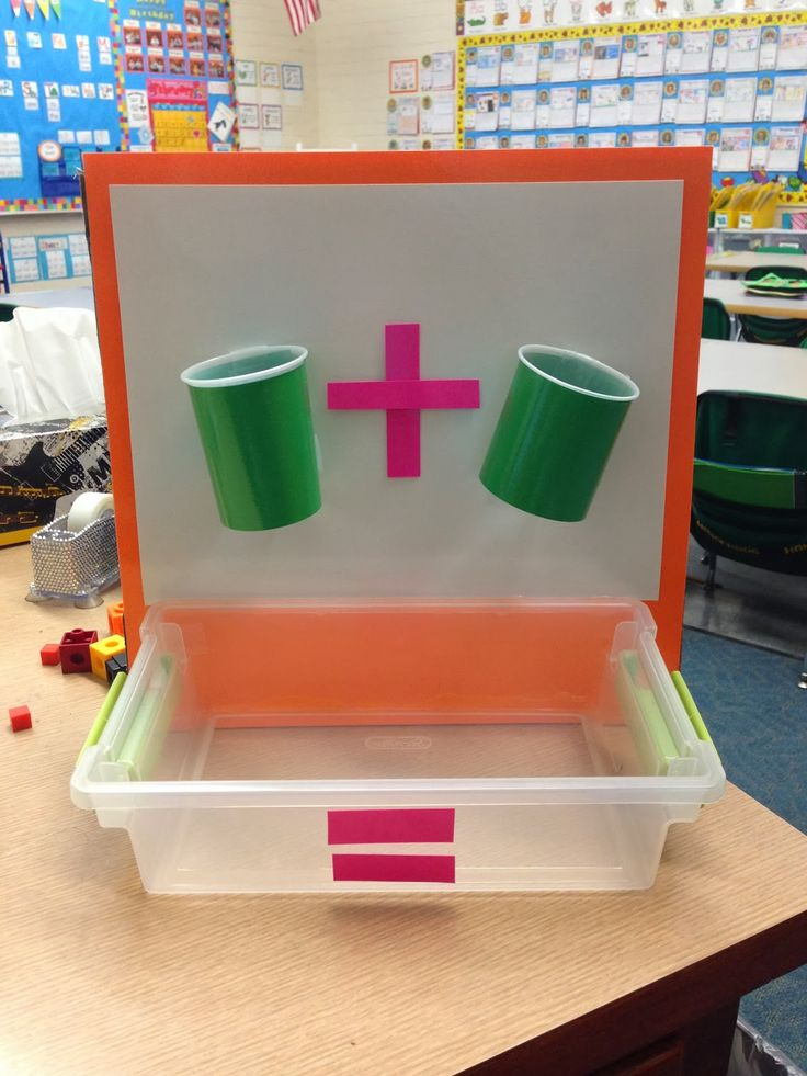 Sweet Sounds of Kindergarten : Math- Addition Cups! Cups have holes in them so that the manipulative a drop through. The kids use