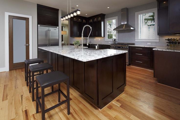 Lighter Granite With Espressor Cabinets Lighter Flooring