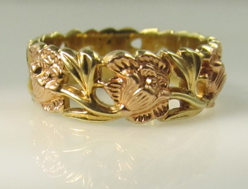 Artcarved 14k Rose Yellow Gold Flower Wedding Band Ring