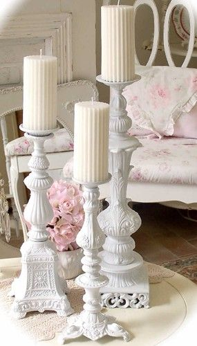 So shabby chic♥ made some like these with old lamp bases