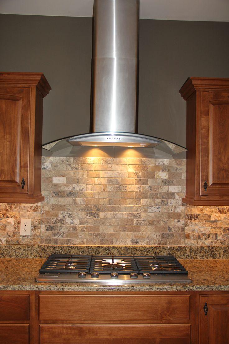 Custom Kitchen With Granite Countertops Stainless Steel Range Hood And Marble Backsplash VPC