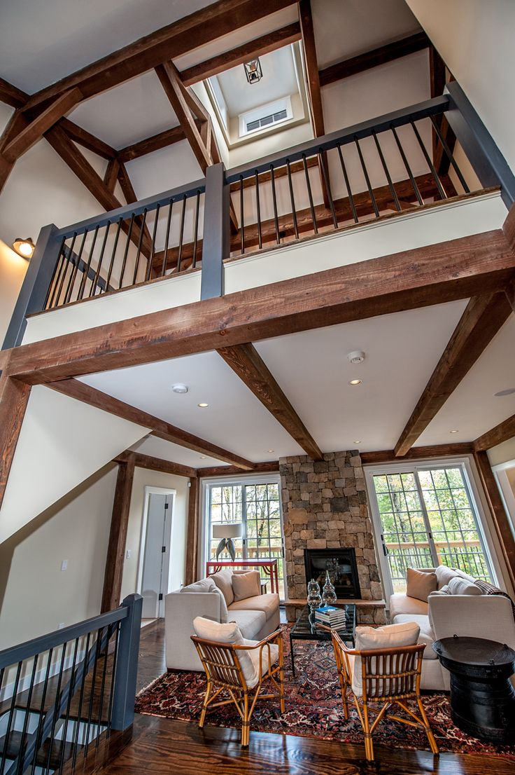 Gorgeous Barn Home Two Story Timber Frame Entry Click