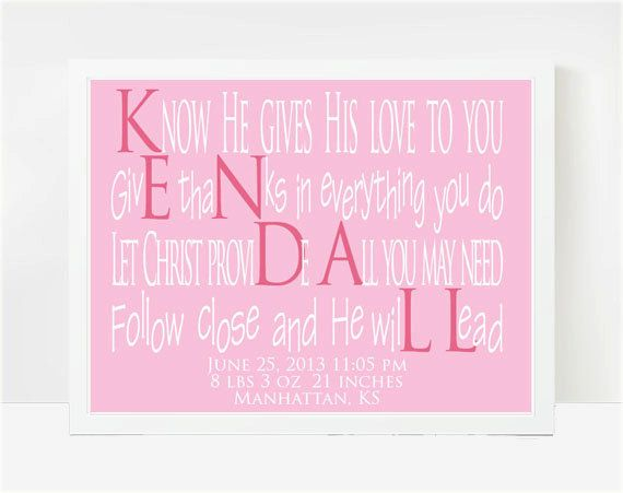 Goddaughter Gifts Baby Shower Gifts Baby Name Poems Kendall 8x10 Kendall Paige