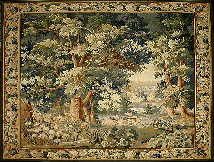 reproduction of antique verdure tapestry tapestries on wall hangings id=63106