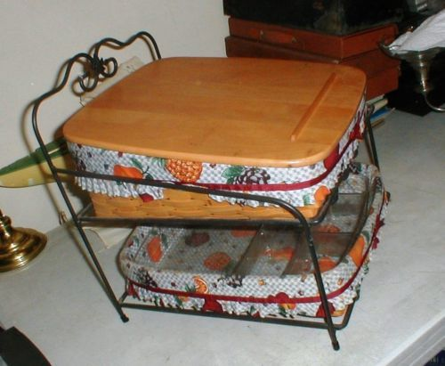 COMPLETE Longaberger Wrought Iron Stand 2 Paper Bin Basket