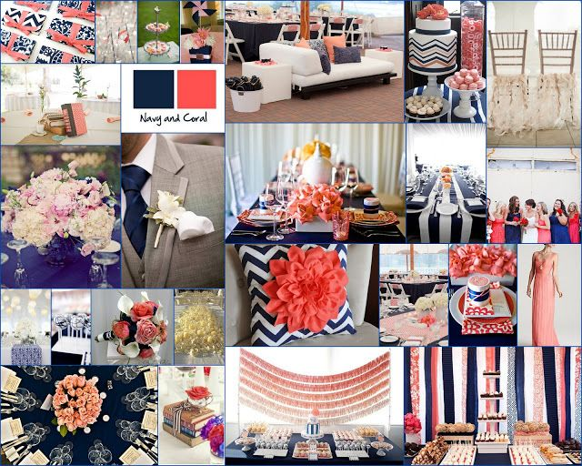 Navy Blue And Coral Wedding Decor Inspiration