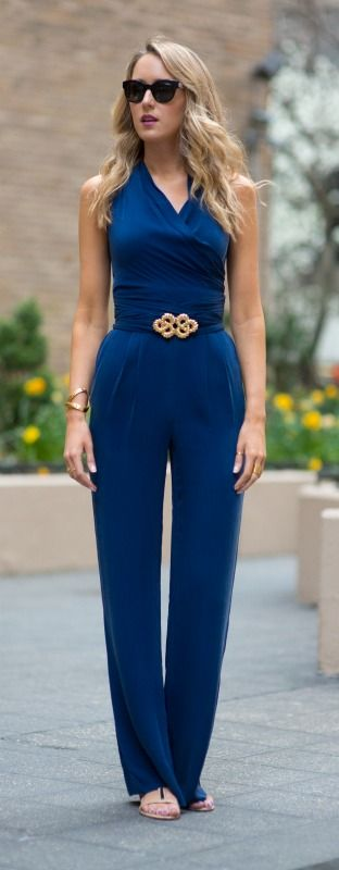 office wear: how to wear a jumpsuit to work {navy wrap ...