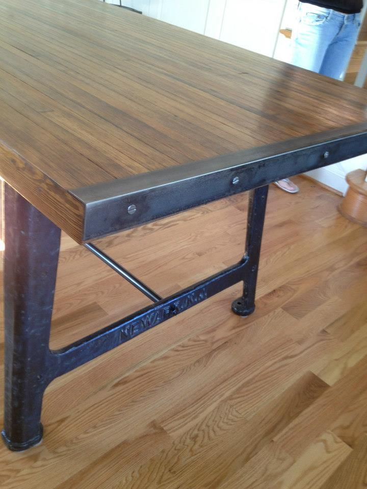 Detail Of Reclaimed Bowling Alley Wood Top Table Steel