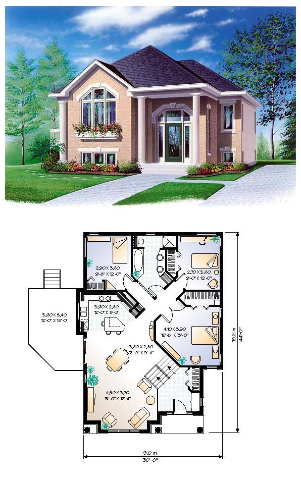 House Plan 65350 Total Living Area 1234 Sq Ft 3 Bedrooms 1 Bathroom