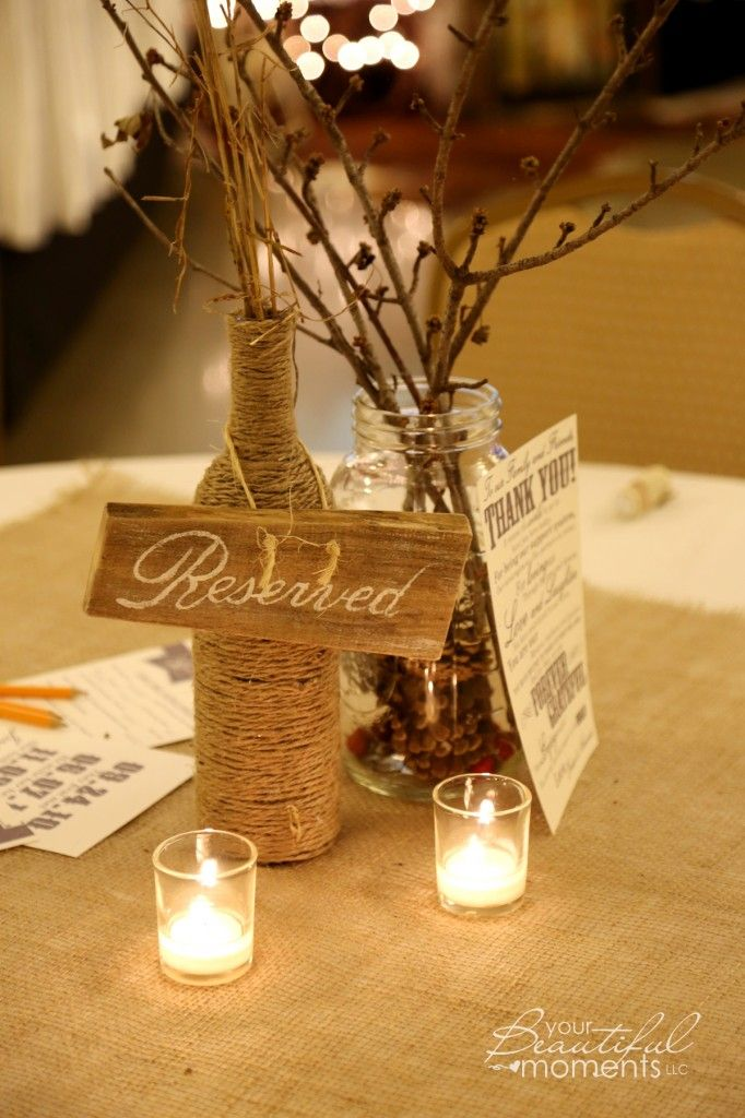 Country Wedding Table Decorations Twine Wrapped Wine