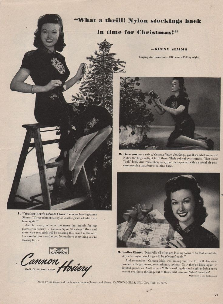 1945 VINTAGE CANNON HOSIERY NYLON STOCKINGS FOR CHRISTMAS
